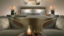 Guestroom bed and seating area