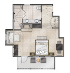 Deluxe Manor Guestroom Floor Plan
