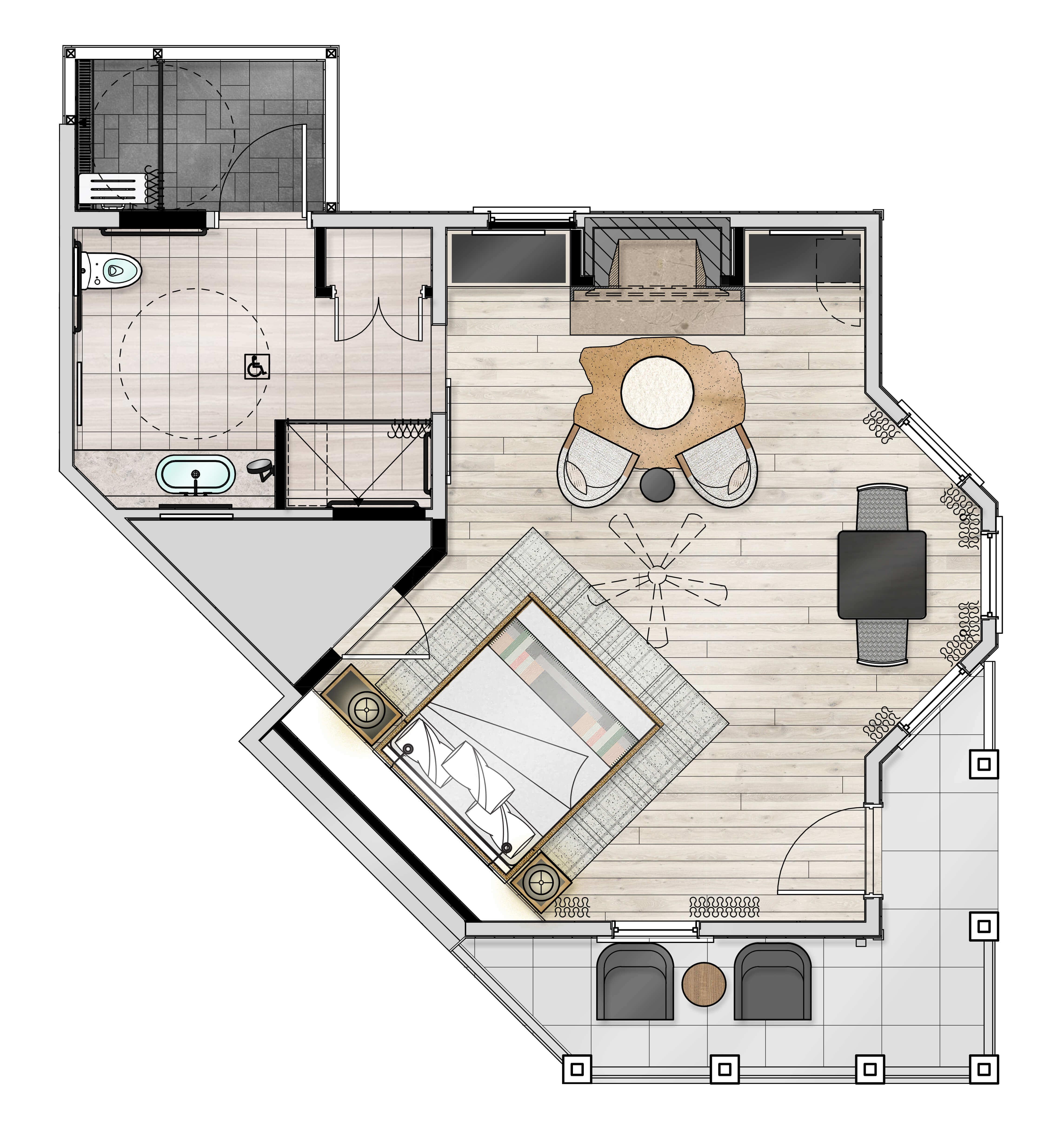 Estate Spa Guestroom ADA Floor Plan