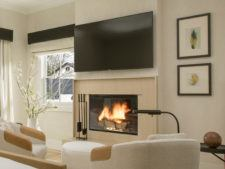 Room fireplace and seating area