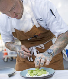 Chef Cole plating tzaziki